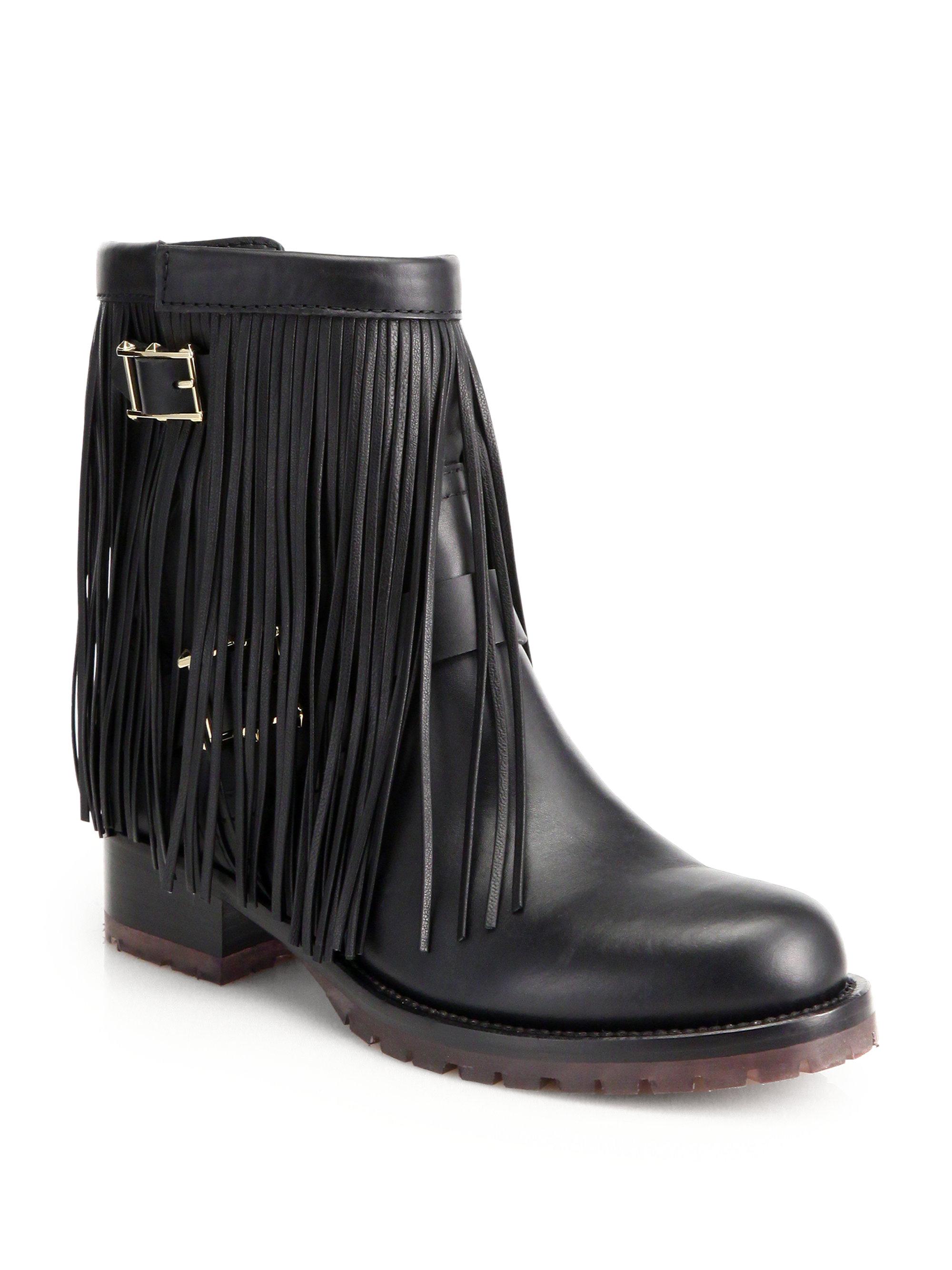 Valentino Moto Fringe Leather Biker Ankle Boots in Black | Lyst