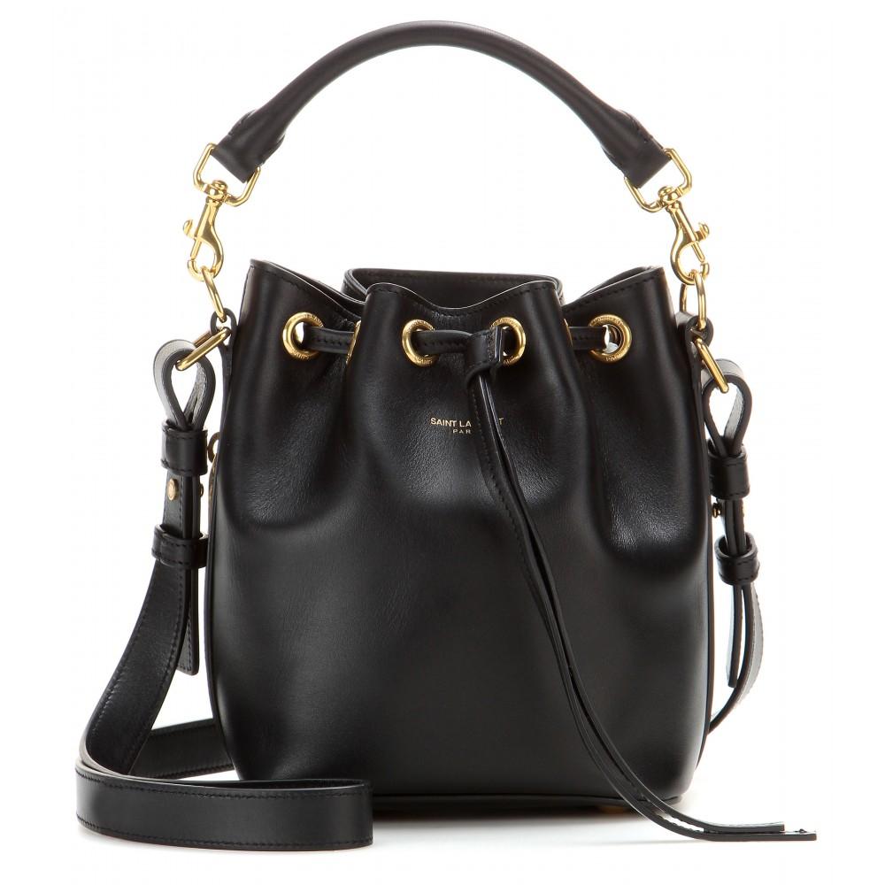Saint Laurent Small Bucket Leather Shoulder Bag In Black