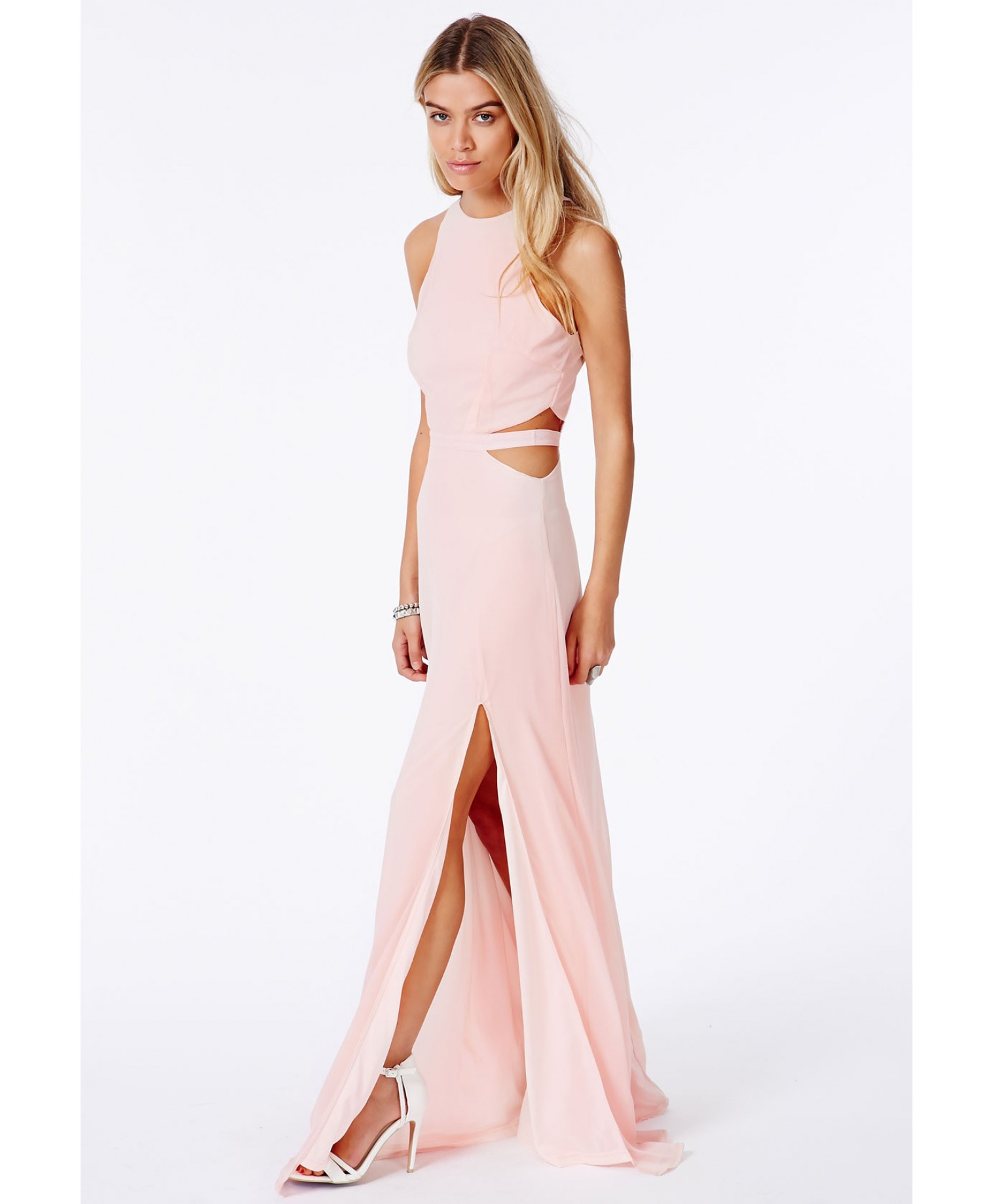 Lyst - Missguided Anthea Cut Out Split Maxi Dress In Nude -8785