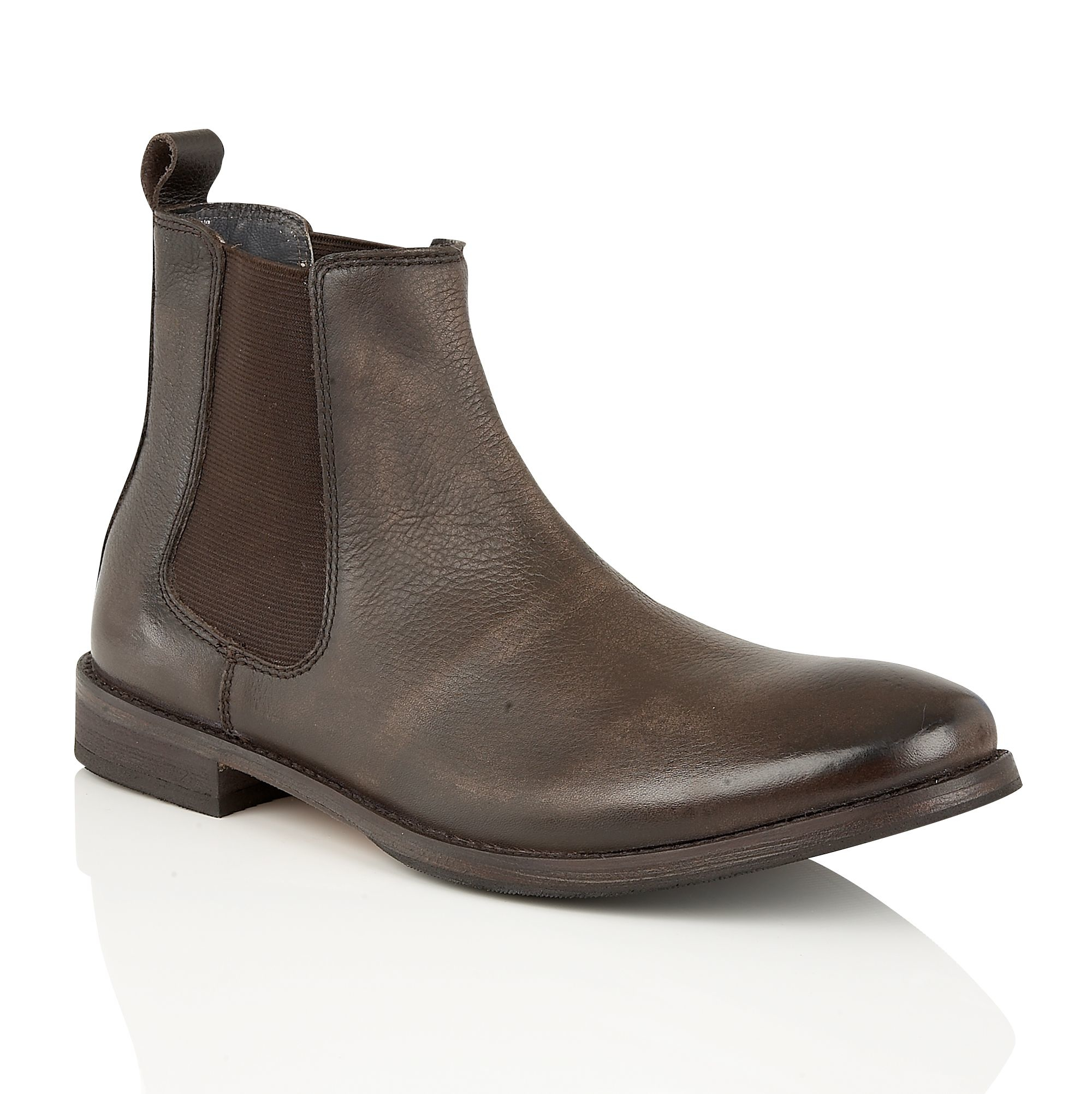 frank wright omar mens slip on gusset boots in brown for
