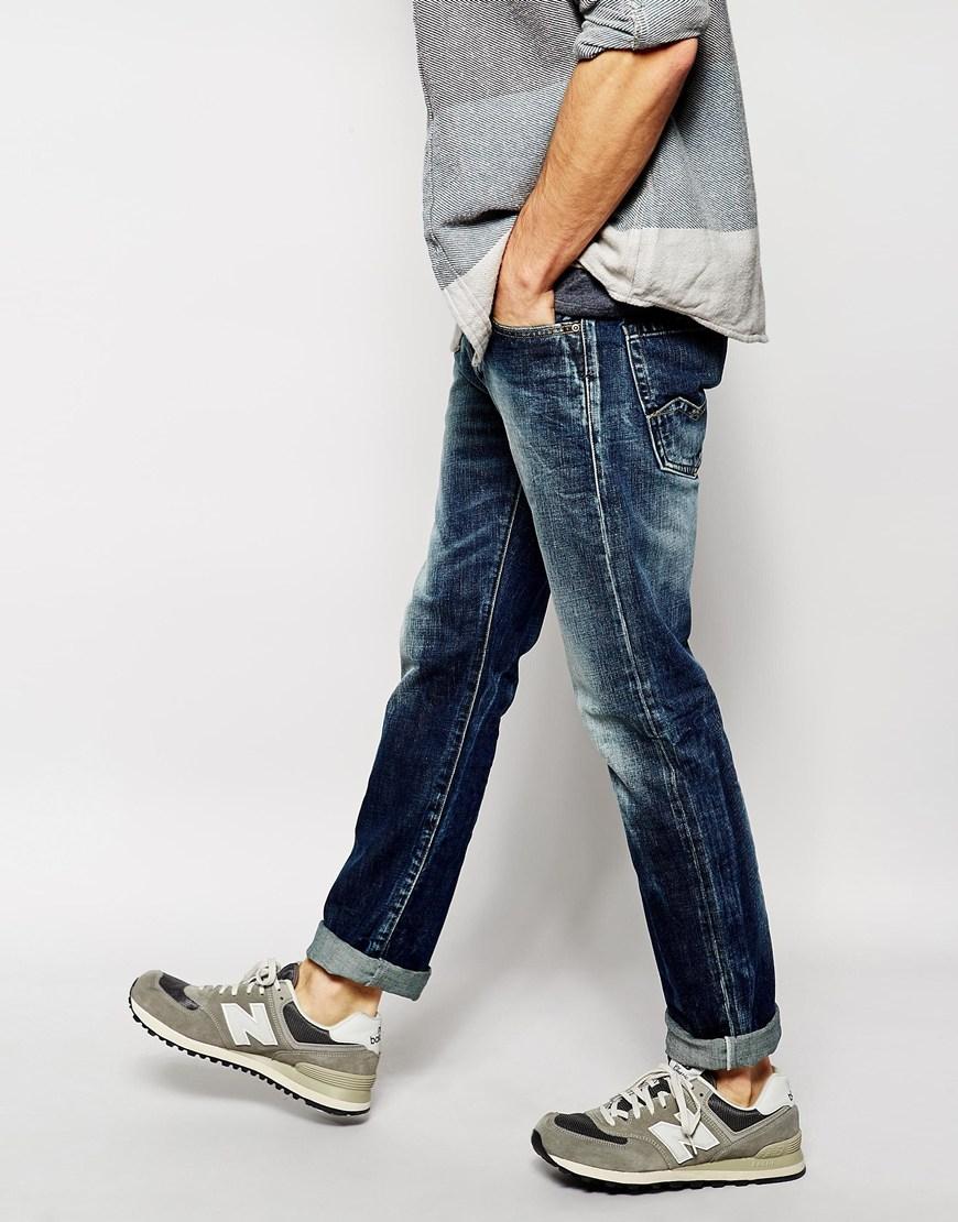 Lyst - Replay Jeans Waitom Straight Fit Vintage Dark Wash ...