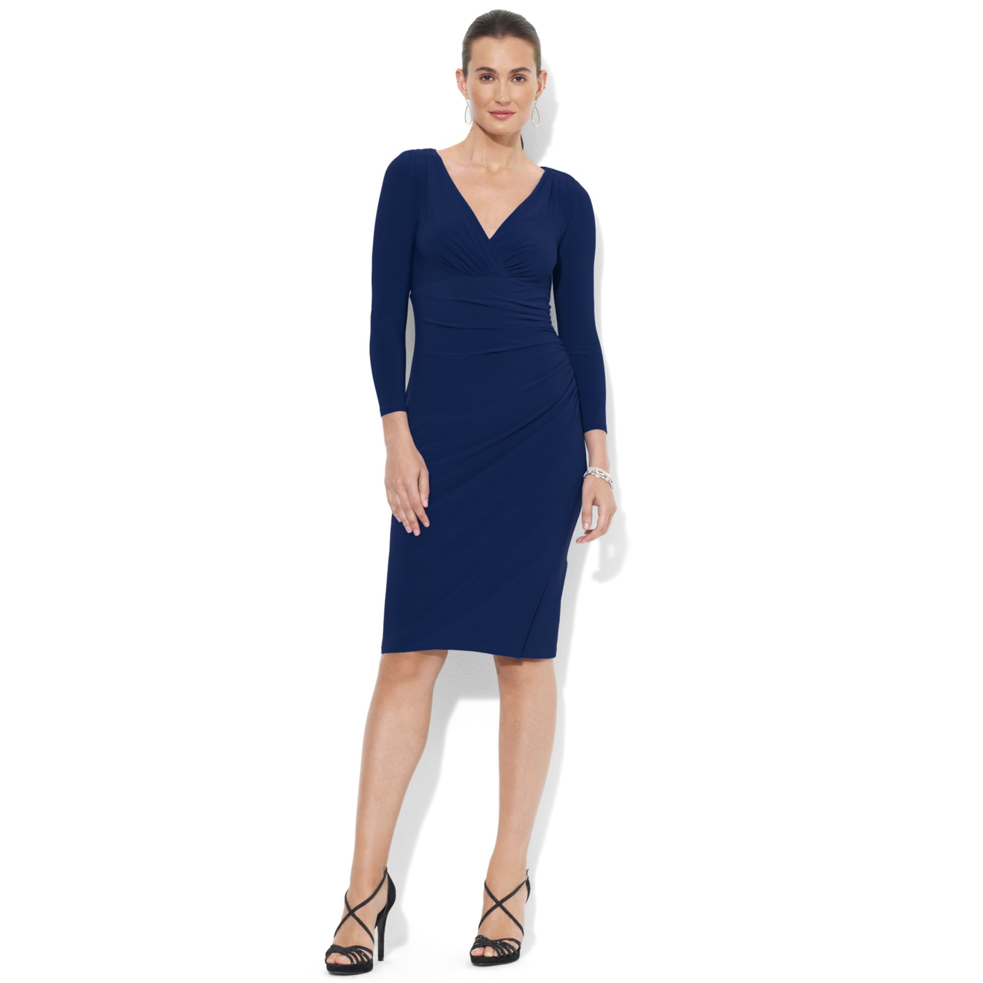 lauren by ralph lauren petite longsleeve ruched jersey dress in blue navy lyst. Black Bedroom Furniture Sets. Home Design Ideas