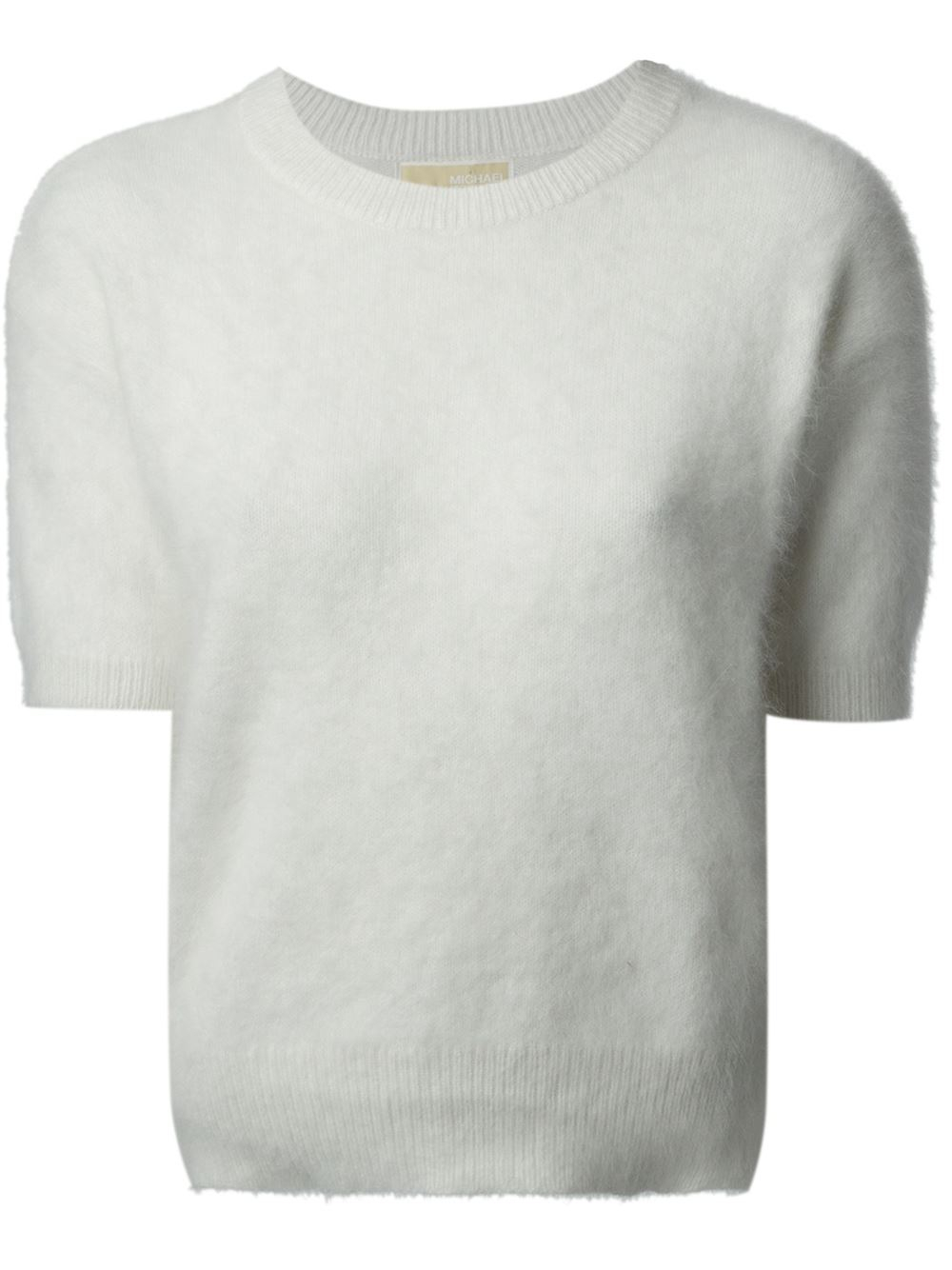 Michael michael kors Short Sleeve Sweater in White | Lyst