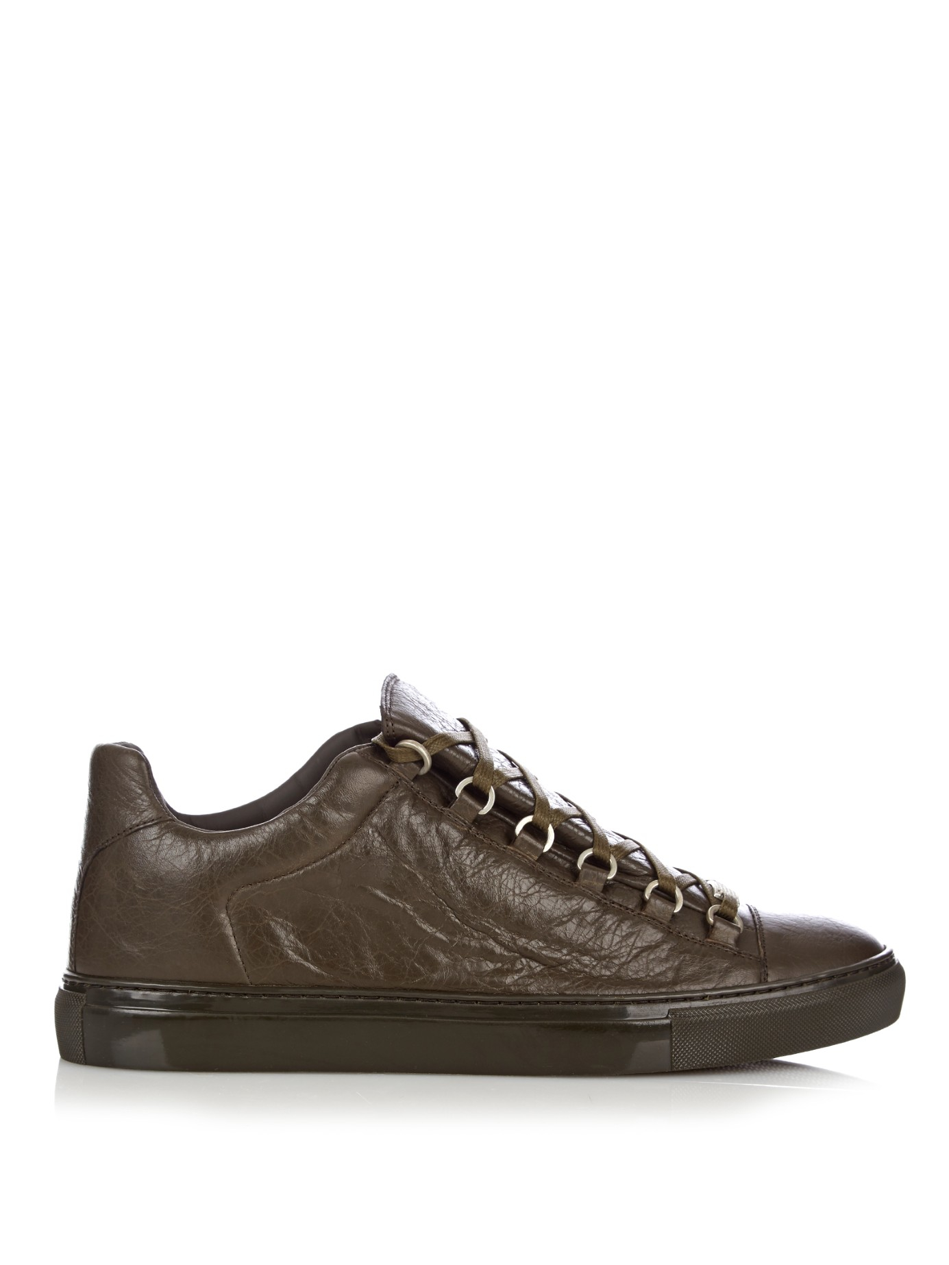 balenciaga arena low top leather trainers in natural for men lyst. Black Bedroom Furniture Sets. Home Design Ideas