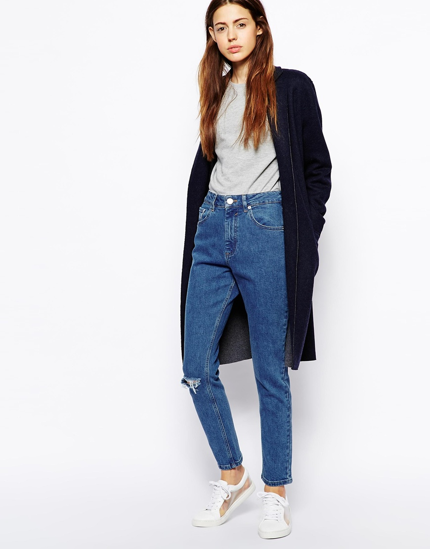 Asos Farleigh High Waist Slim Mom Jeans In Clean Mid Wash Blue ...