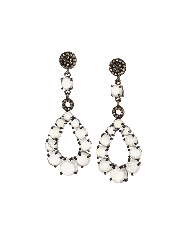 Bavna Round Moonstone & Diamond Open Drop Earrings R4rLmvZVMR