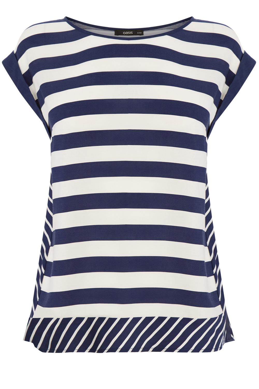 46586b3dbc1f3 Oasis Stripe Viscose T-shirt in Blue - Lyst