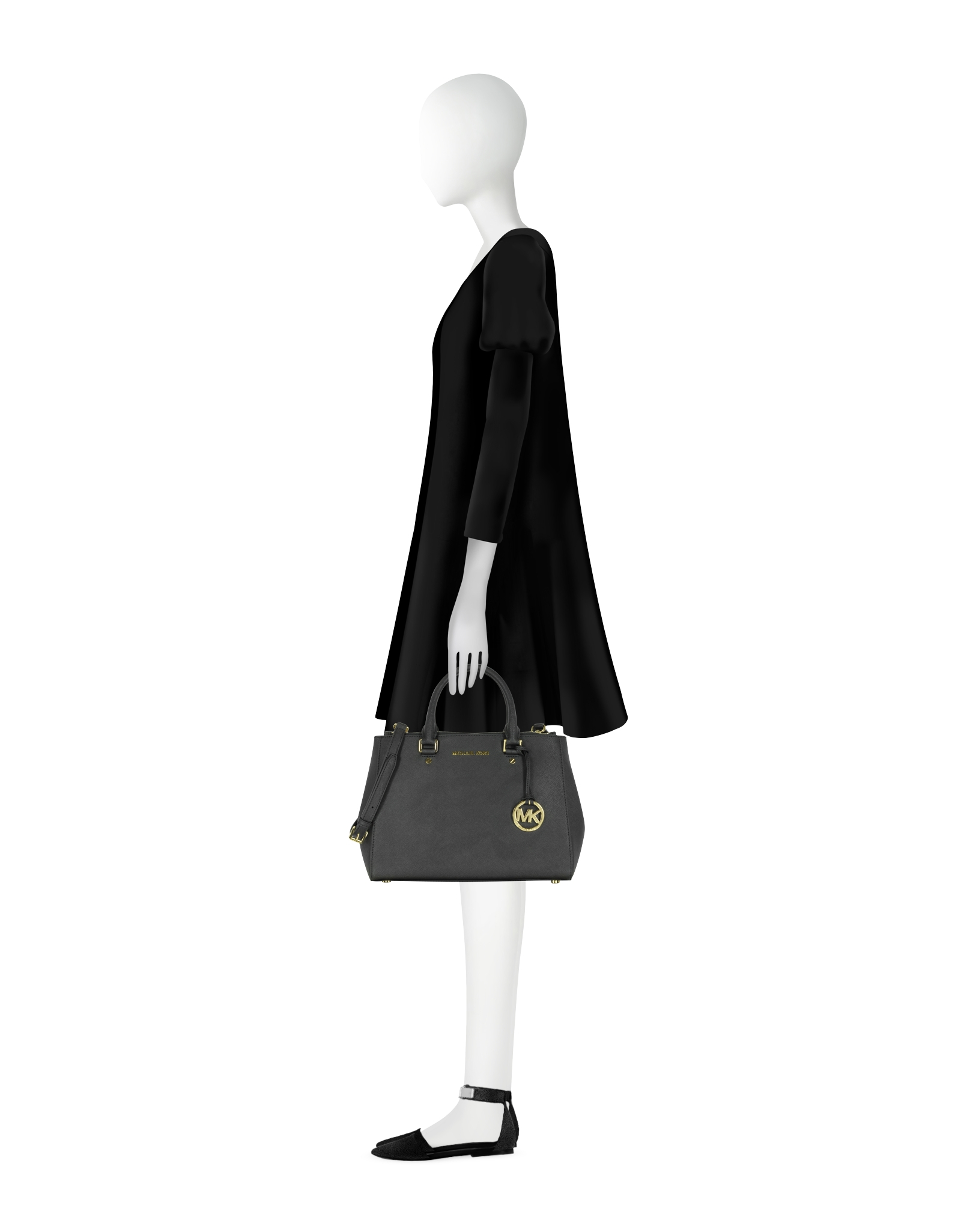 4cb4d39a8549 ... wholesale michael kors sutton medium saffiano leather satchel bag in  black lyst 0d143 d2845