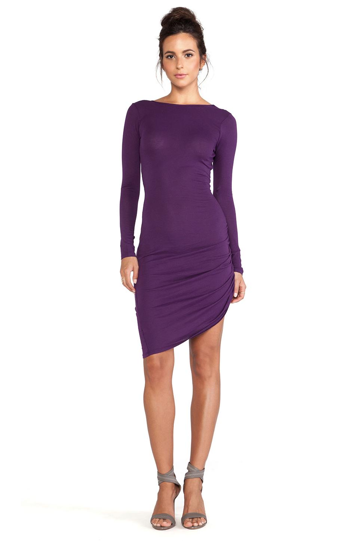 Bobi Long Sleeve Asymmetrical Dress in Purple | Lyst
