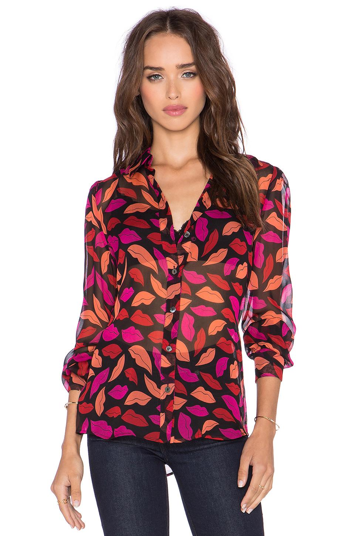 Lyst diane von furstenberg mariah printed silk chiffon for Diane von furstenberg shirt