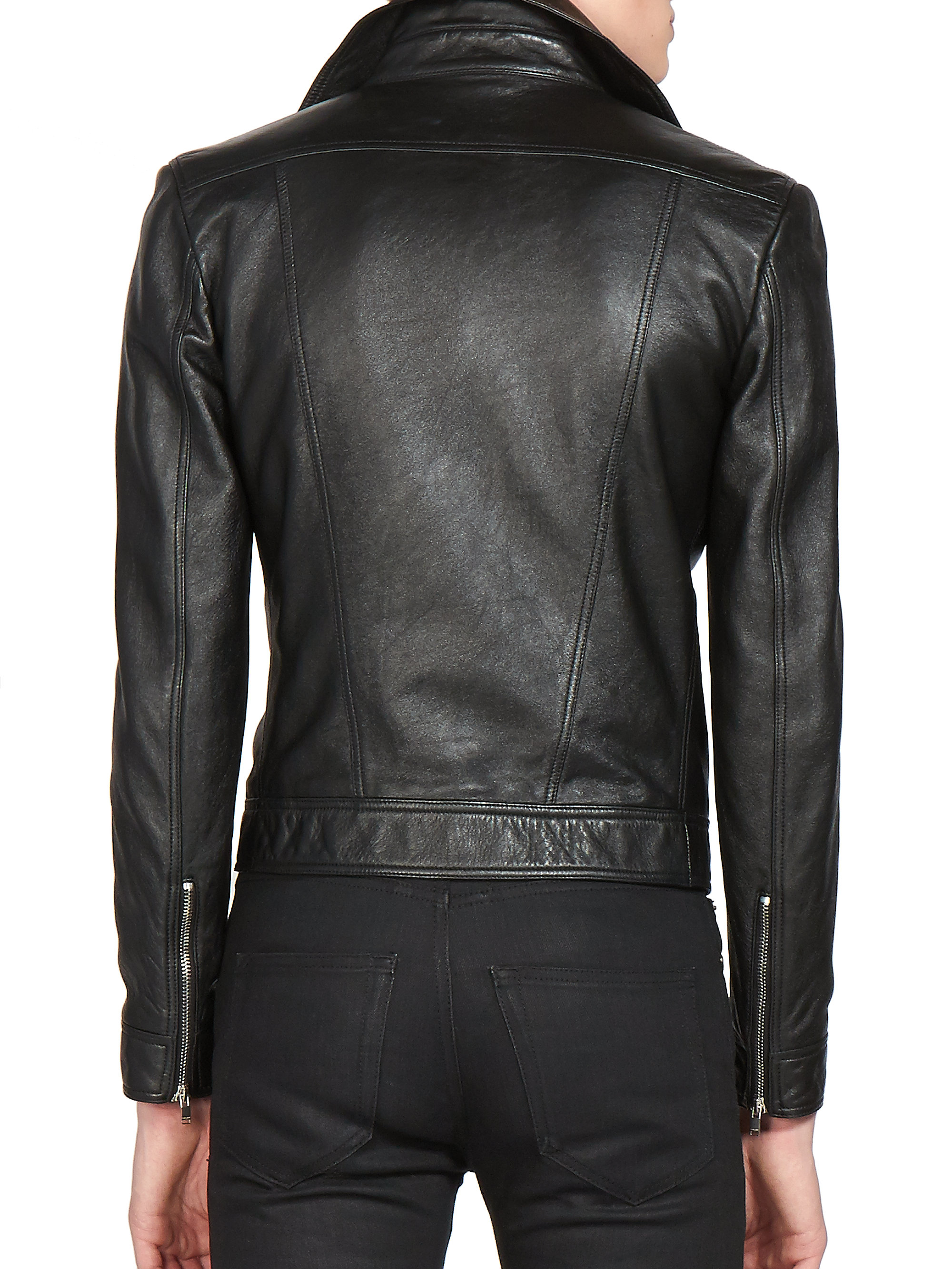 0acecc2692a Saint Laurent Cropped Leather Jacket in Black for Men - Lyst