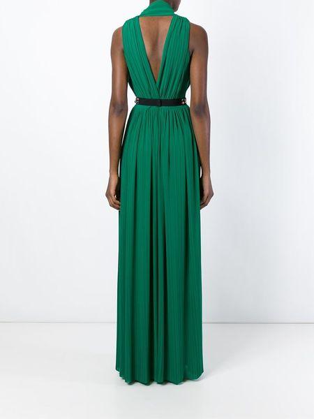 msgm embellished belt dress in green lyst