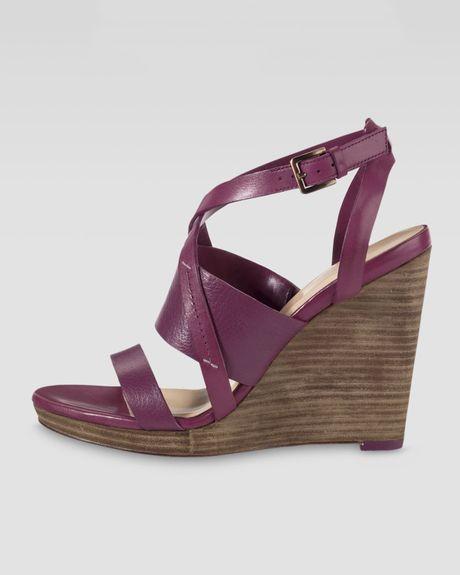 cole haan pelham wedge sandal in purple winery lyst