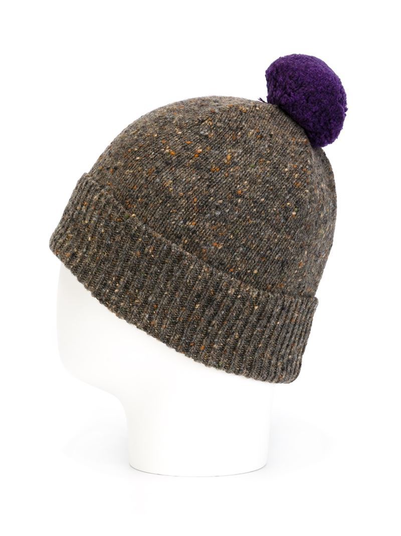 Lyst - Paul Smith Pom Pom Speckled Beanie in Gray 8b13ac8b4657