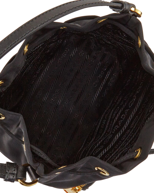 21ab07be2f51 Lyst - Prada Tessuto Mini Bucket Bag in Black