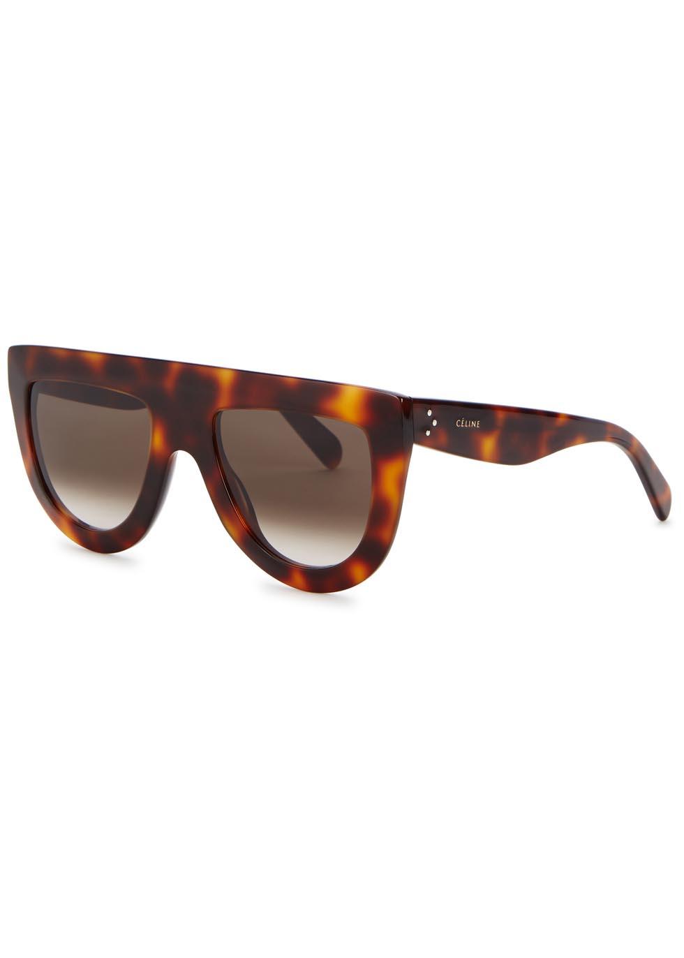 C Line Andrea Tortoiseshell D Frame Sunglasses In Brown Lyst