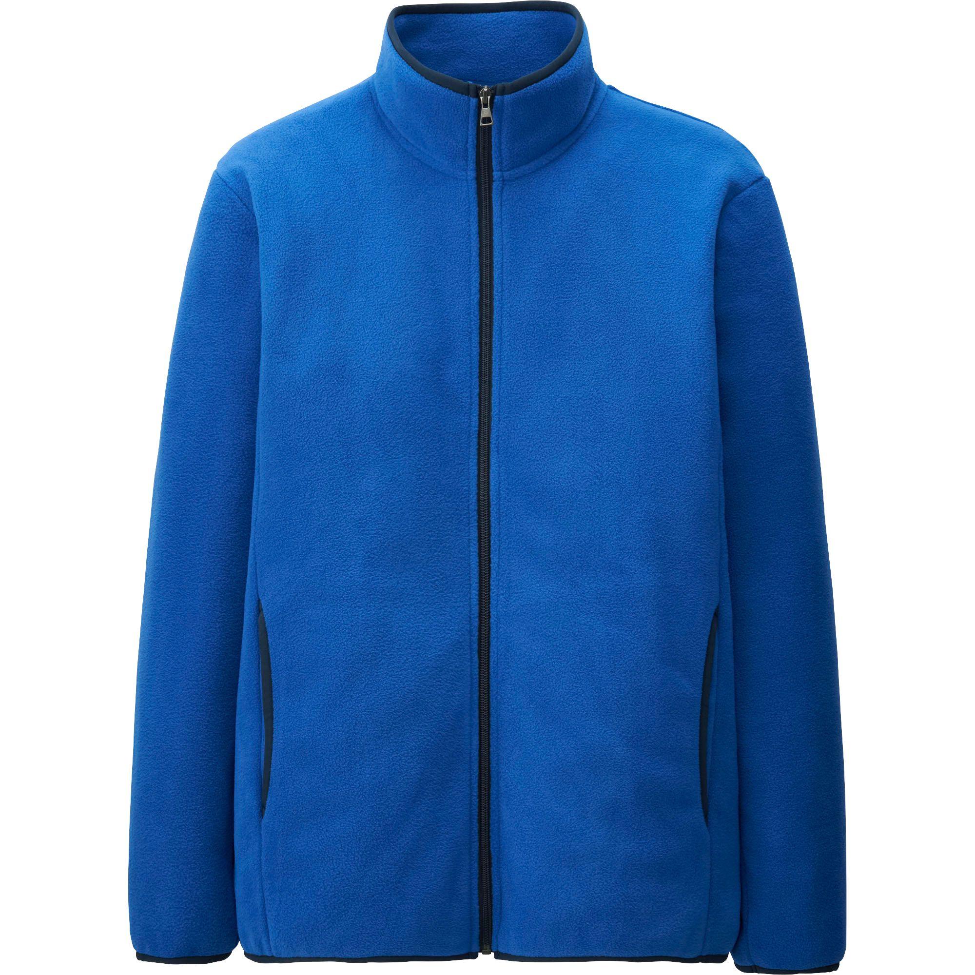 Uniqlo Men Fleece Full Zip Long Sleeve Jacket In Blue For