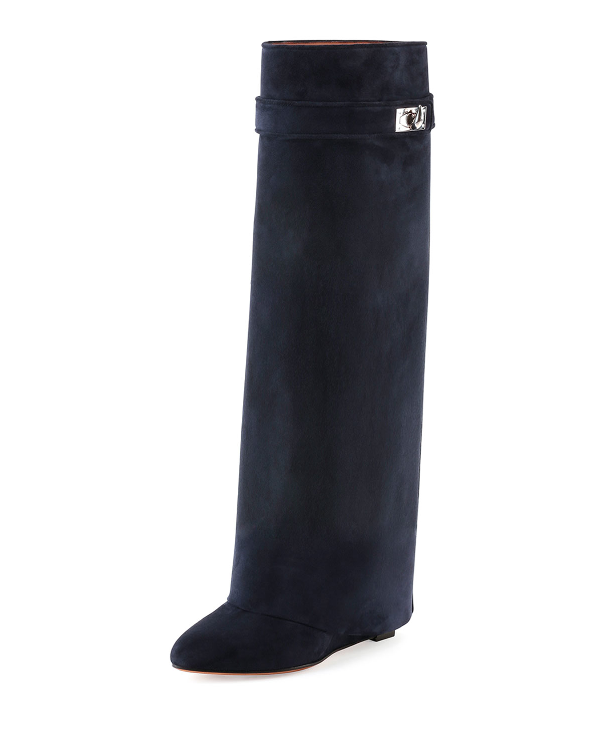 givenchy suede shark lock fold boots in blue navy