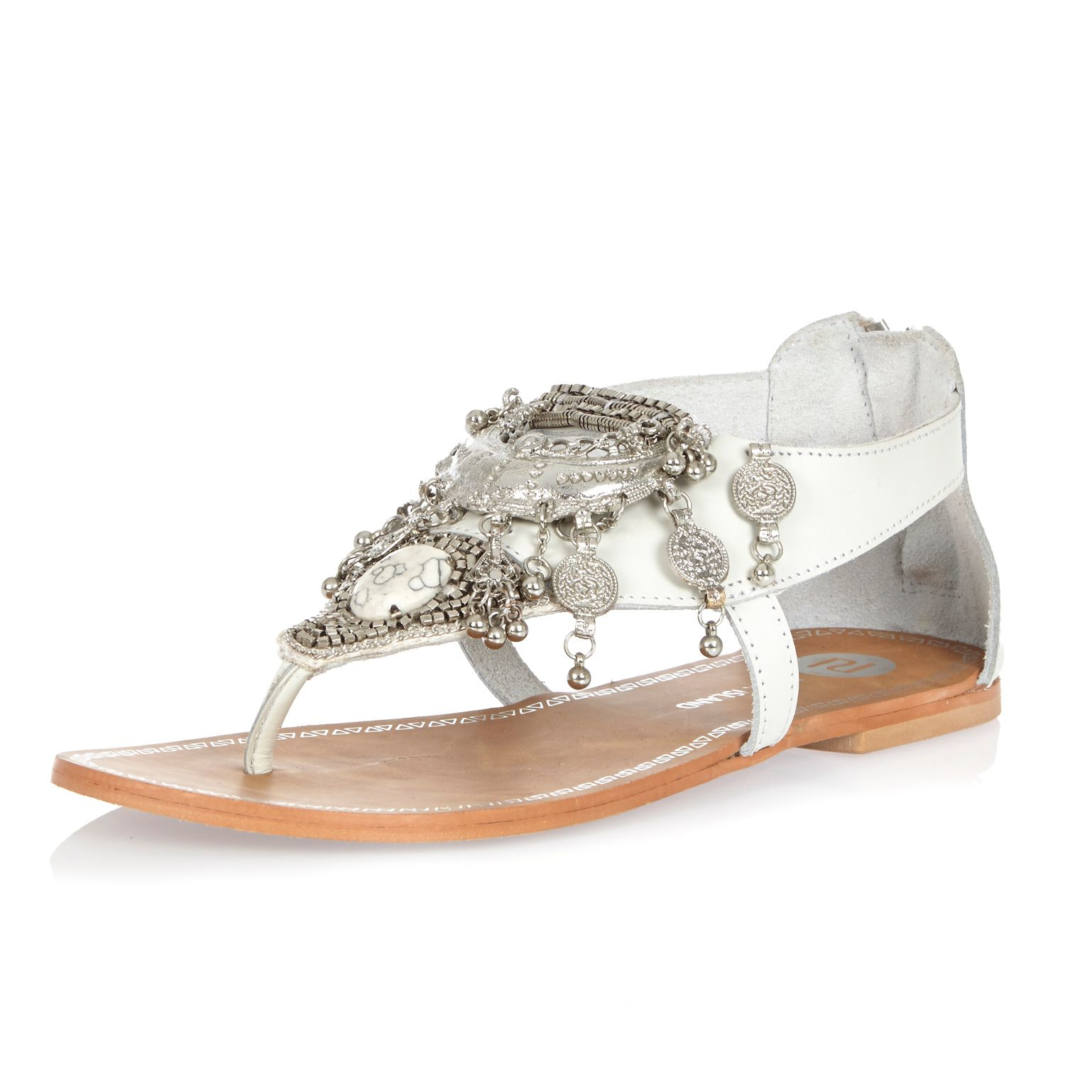 Lyst River Island White Leather Coin Embellished Sandals