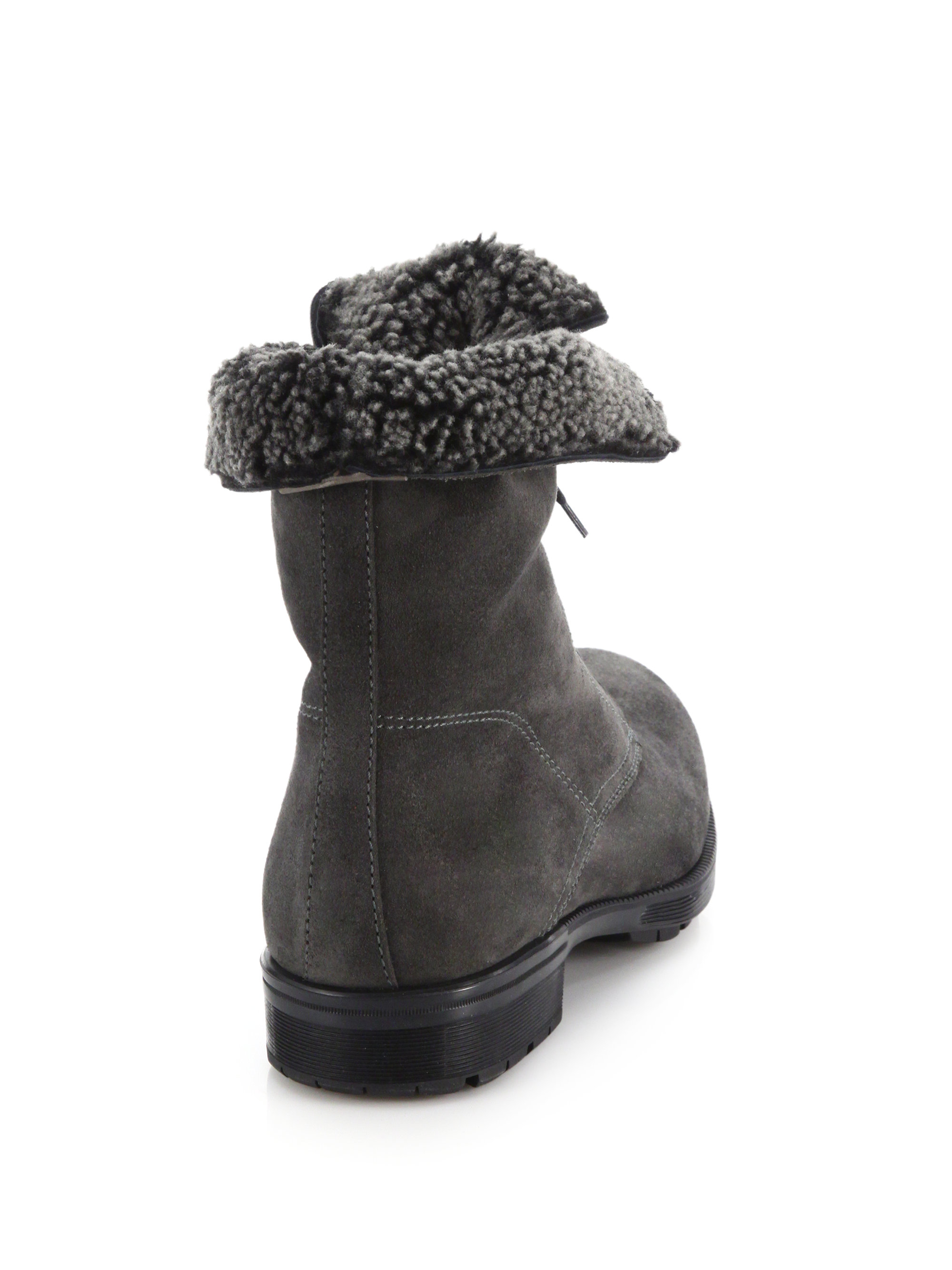 Aquatalia Hayden Shearling Lined Suede Lace Up Boots In