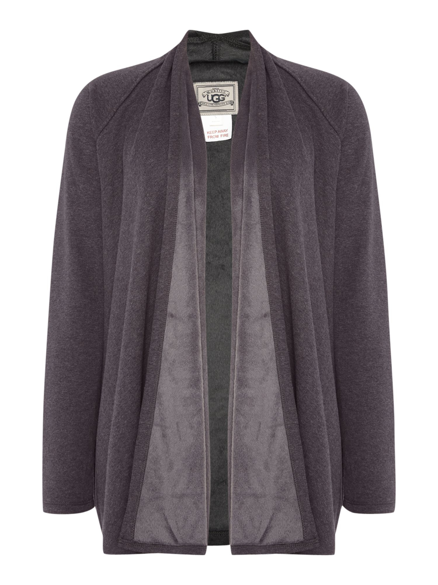 Ugg Meadow Knit Waterfall Fleece Cardigan in Gray | Lyst