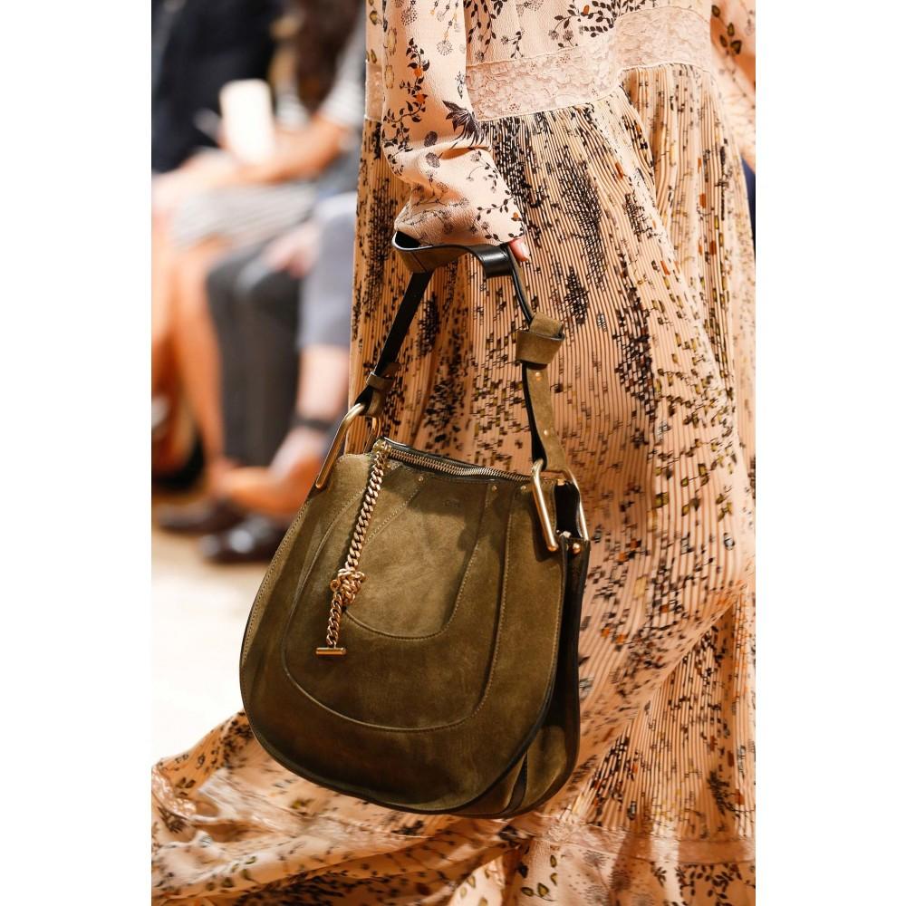 Chlo�� Hayley Small Suede Shoulder Bag in Khaki | Lyst