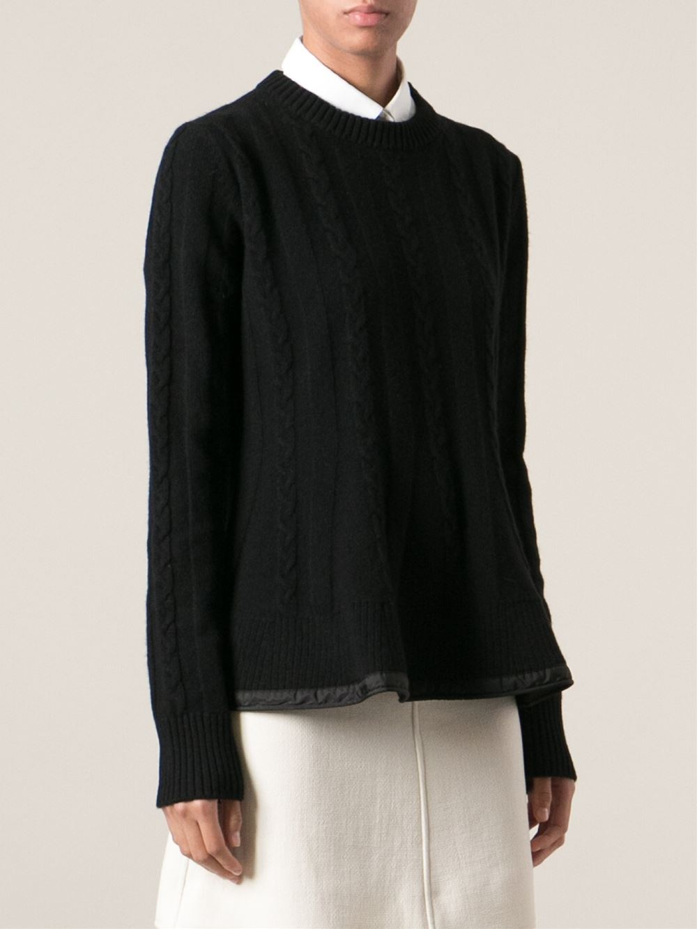 Moncler Aran Knit Sweater in Black | Lyst