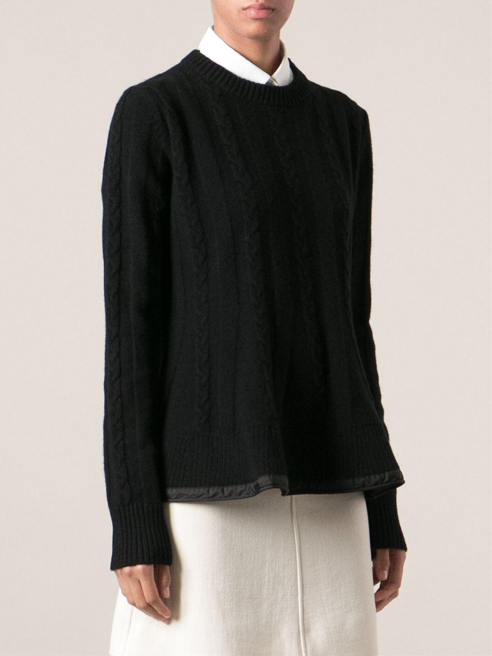 Lyst - Moncler Aran Knit Sweater in Black