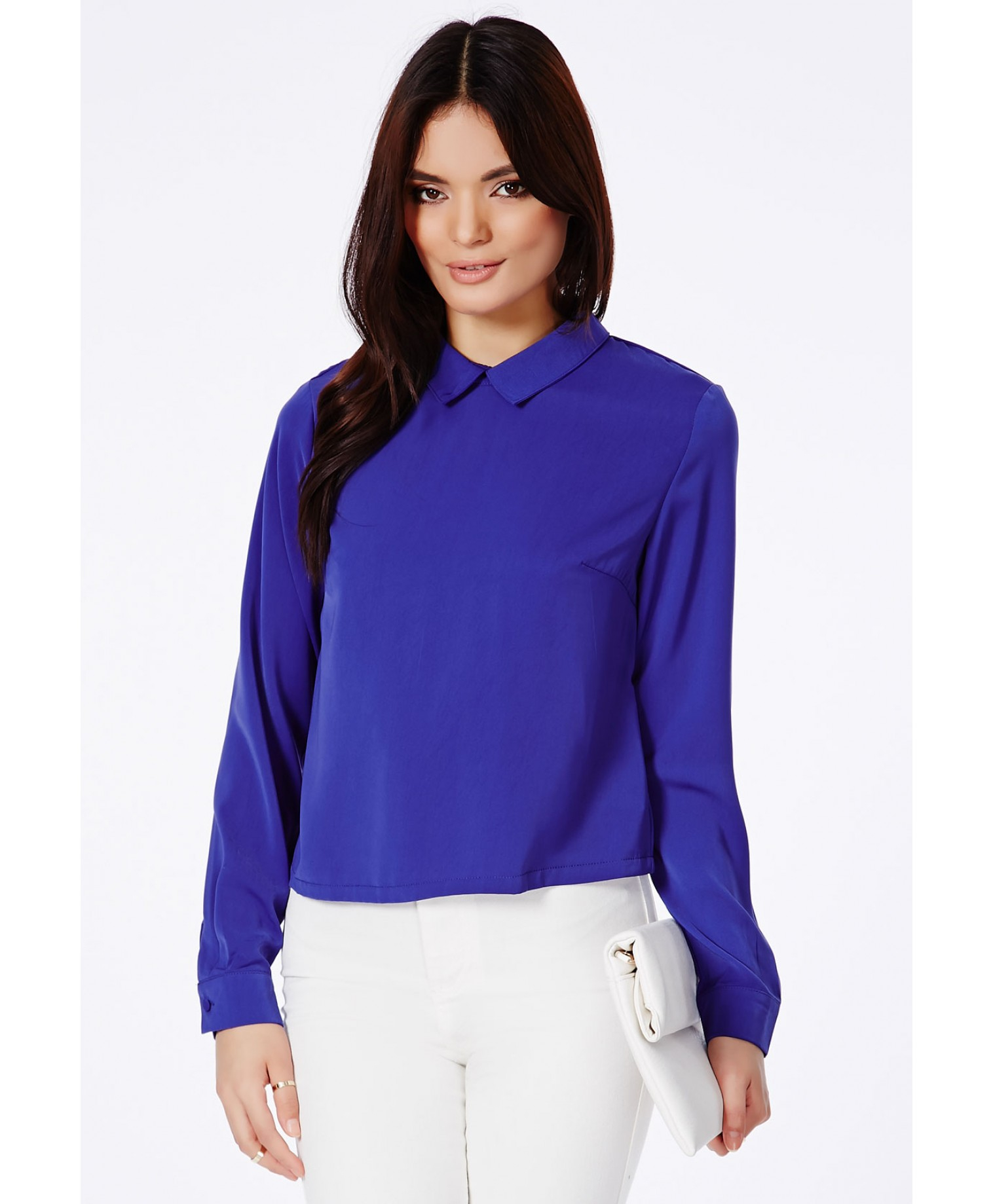 Lyst Missguided Chella Collared Long Sleeve Blouse In