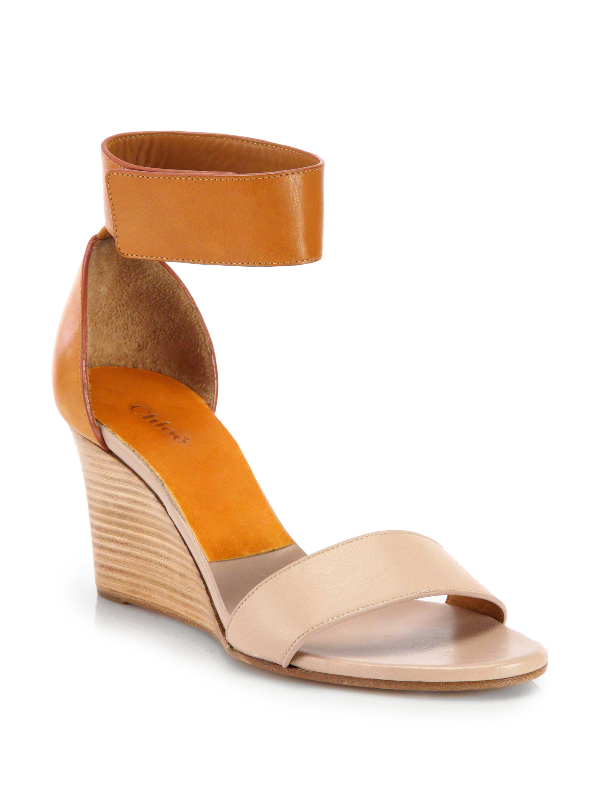 010e6cc861a87c Lyst - Chloé Gala Leather Ankle Strap Wedge Sandals in Orange