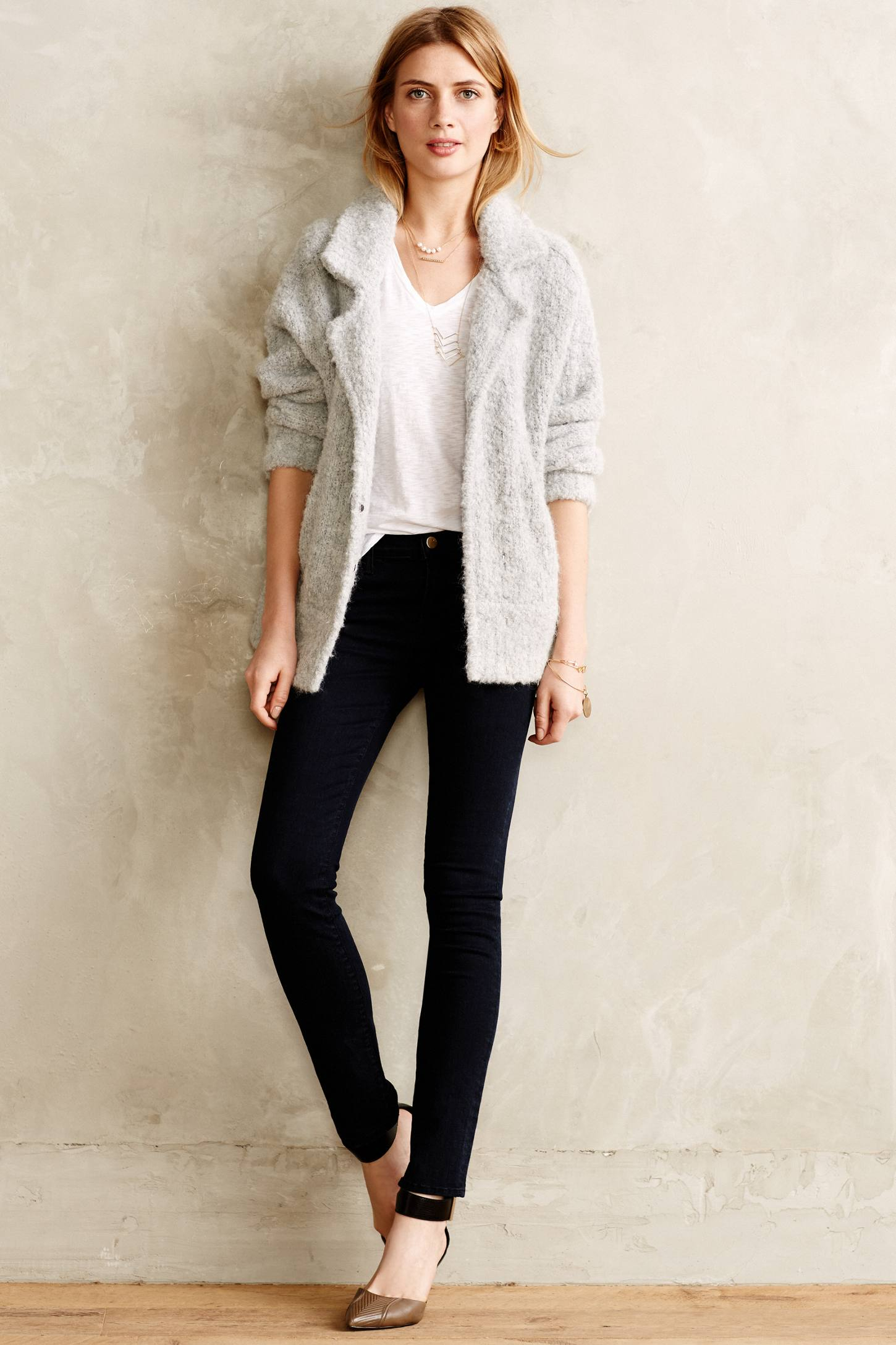 Anthropologie Boucle Sweater Jacket in Gray | Lyst