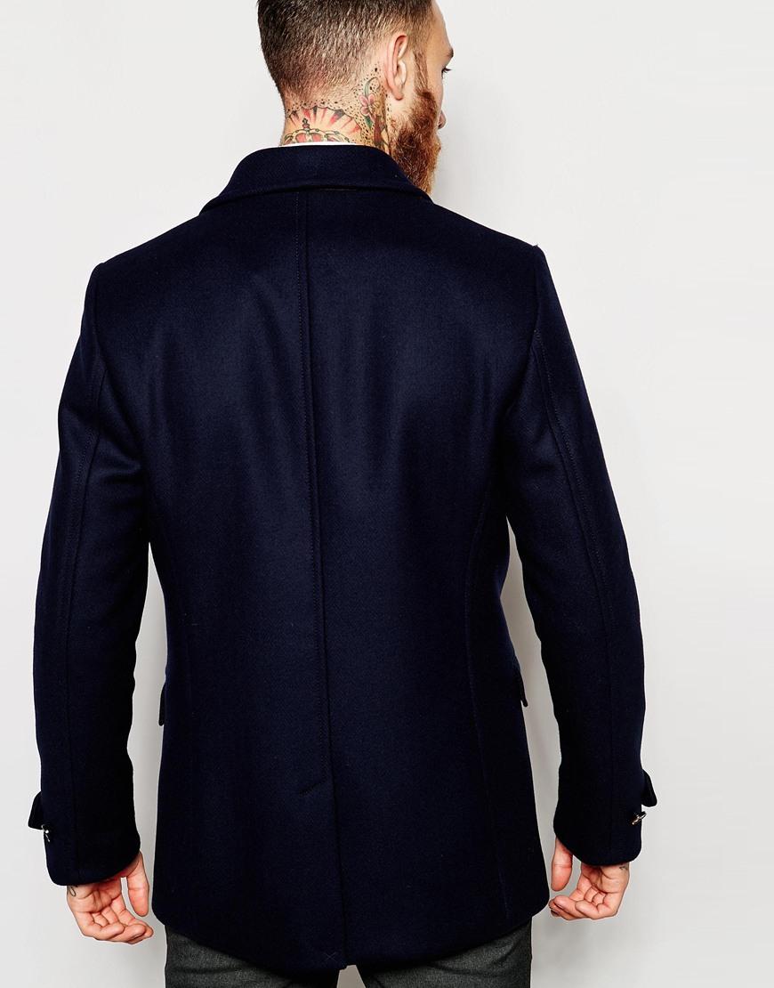 0da75a7d9f628c Lyst - Ted Baker Wool Rich Pea Coat in Blue for Men