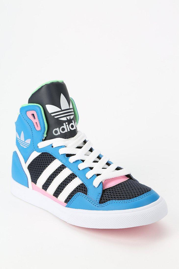 adidas originali extaball cuoio hightop scarpe blu lyst