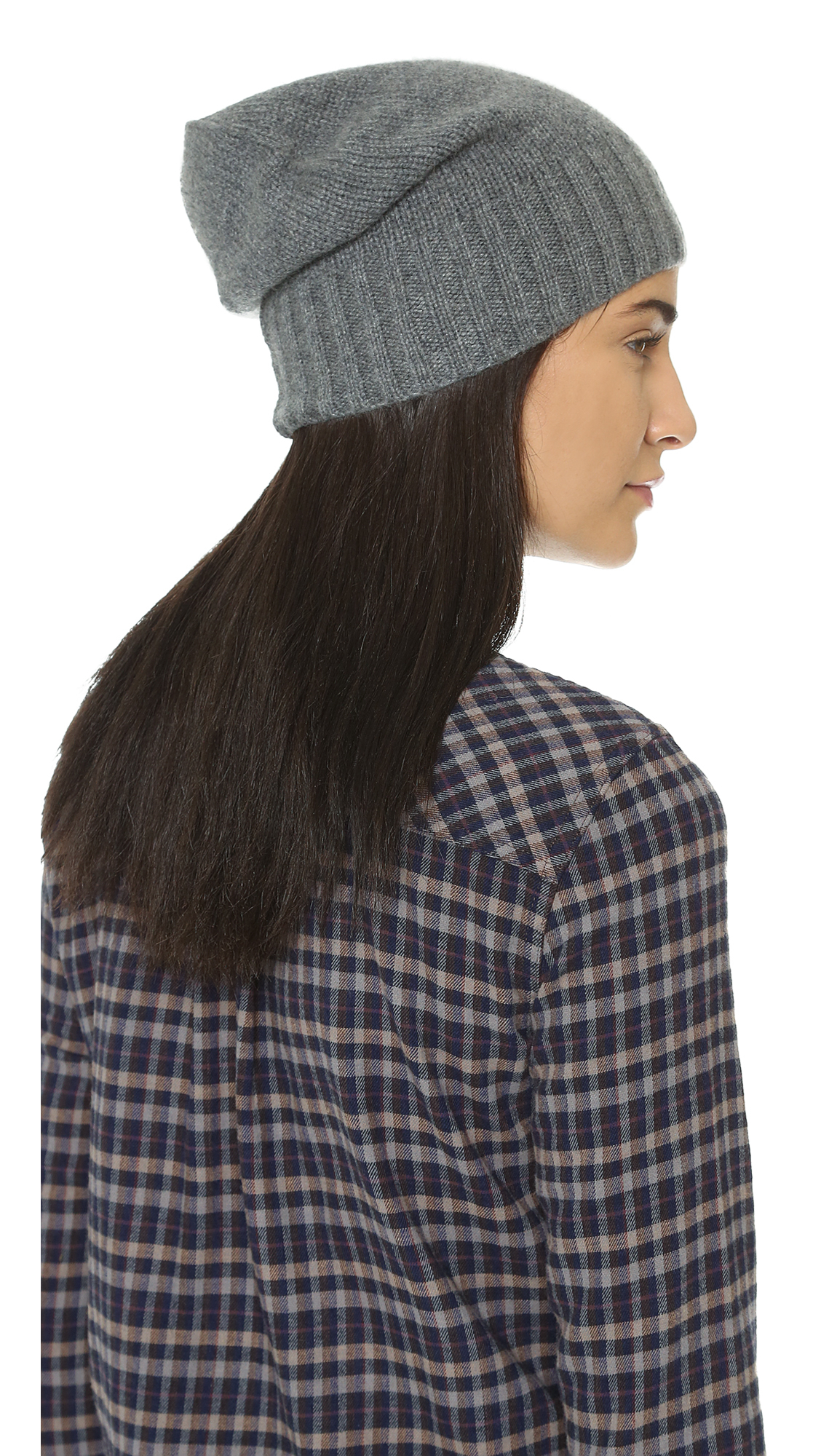 667fe6262d Lyst - Hat Attack Cashmere Slouchy   Cuff Hat in Gray