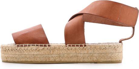 Vince Elise Espadrille Flat Sandals Luggage In Brown
