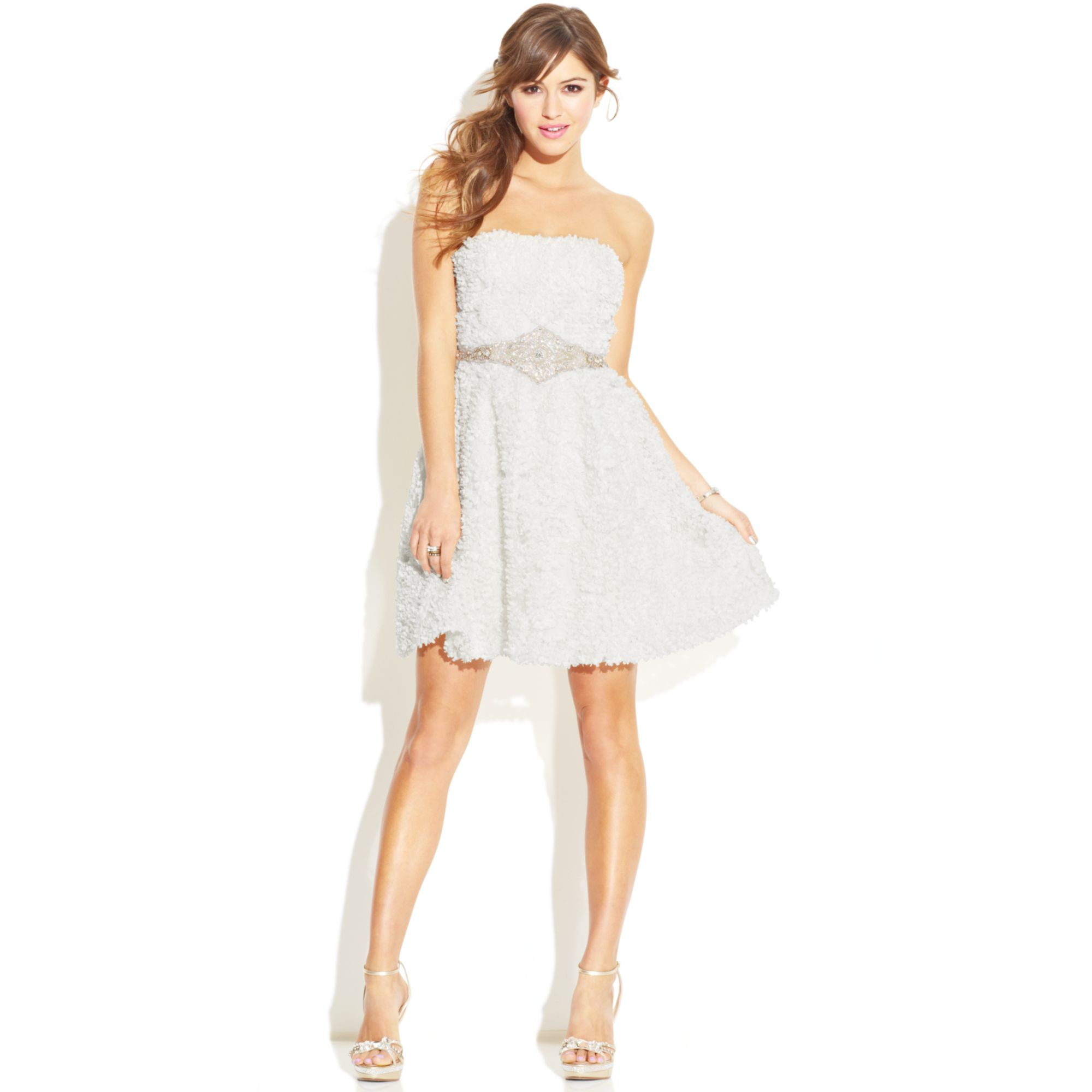 Lyst As U Wish Strapless Textured Dress In White