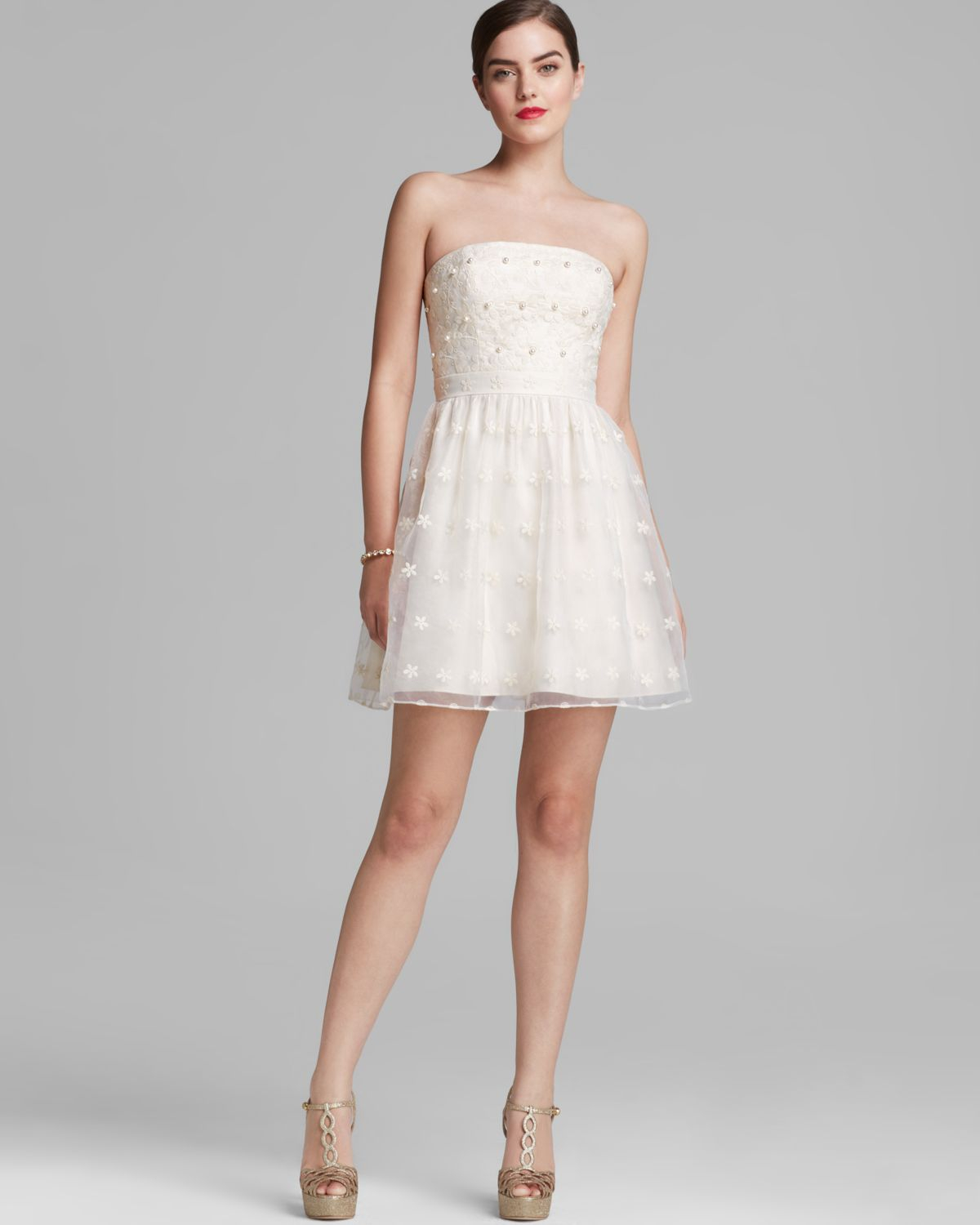 Aidan Mattox Dress Strapless Floral Embroidered Fit And
