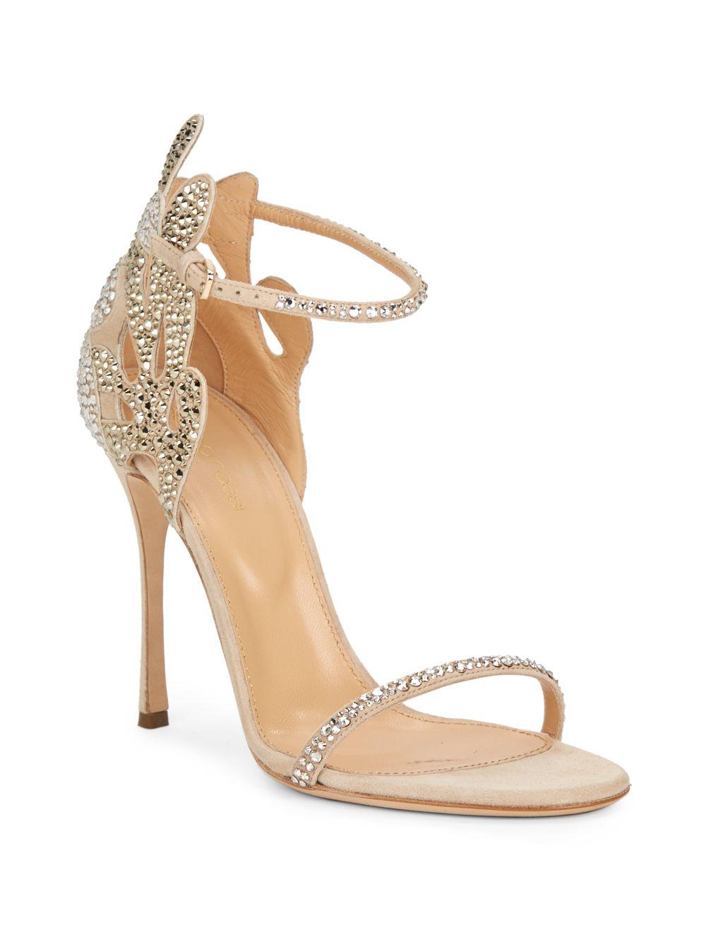 00d48412af99 Lyst - Sergio Rossi Matisse Swarovski Crystal Suede Sandals in Natural