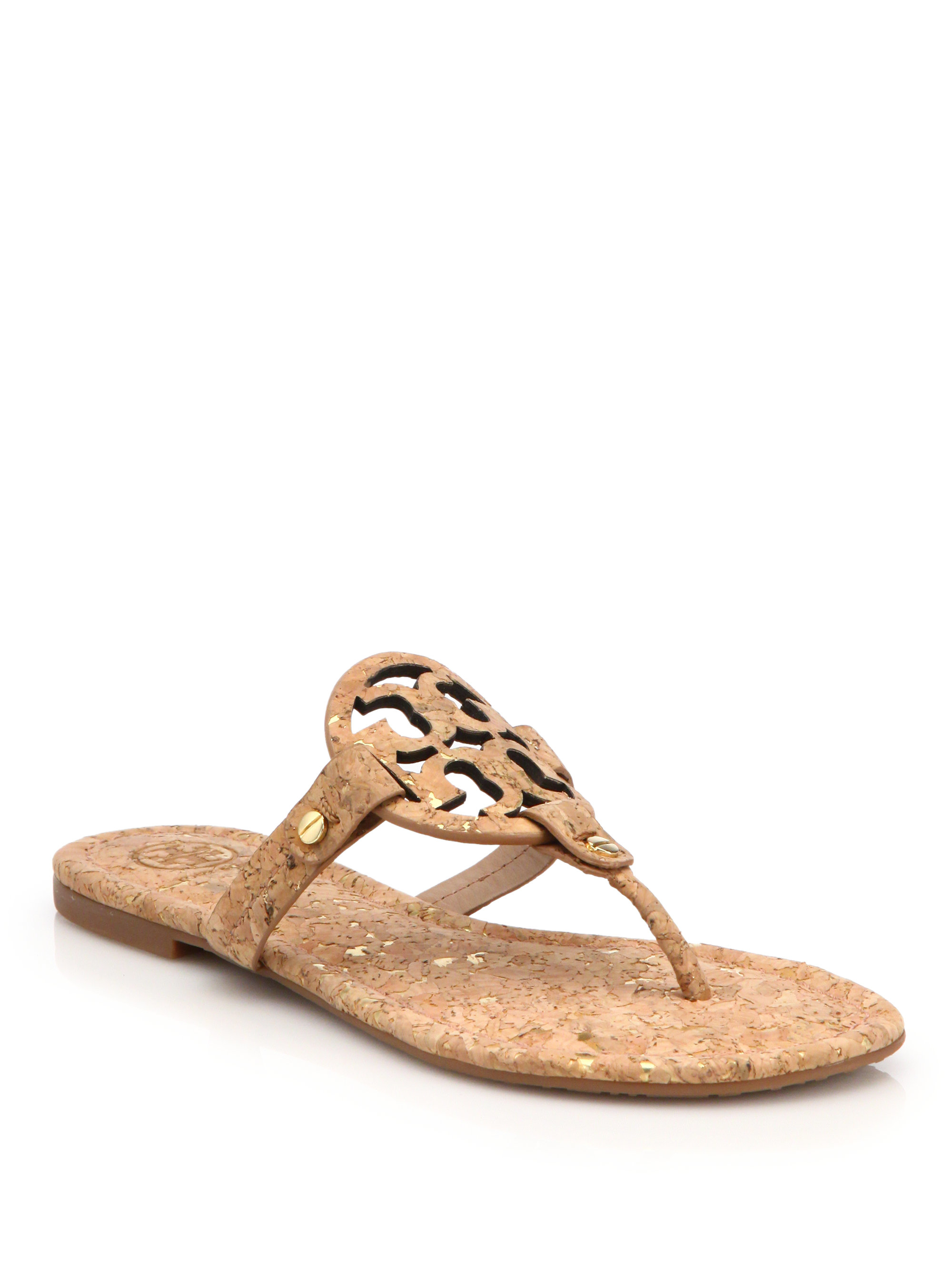 61db06aefda Lyst - Tory Burch Miller Cork Logo Thong Sandals in Natural