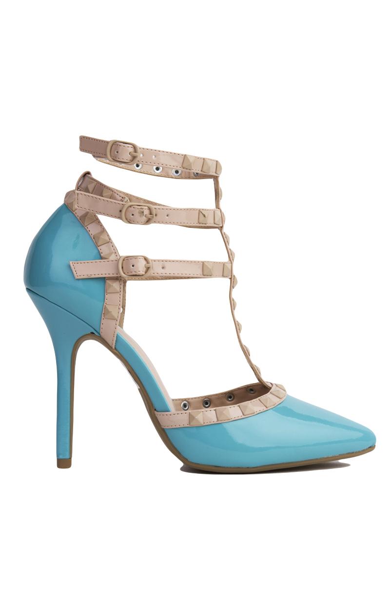 Akira T-strap Studded Aqua Patent Heels in Blue | Lyst