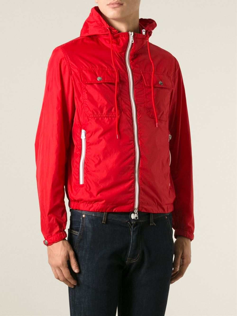 Moncler Classic Windbreaker Jacket in Red for Men | Lyst