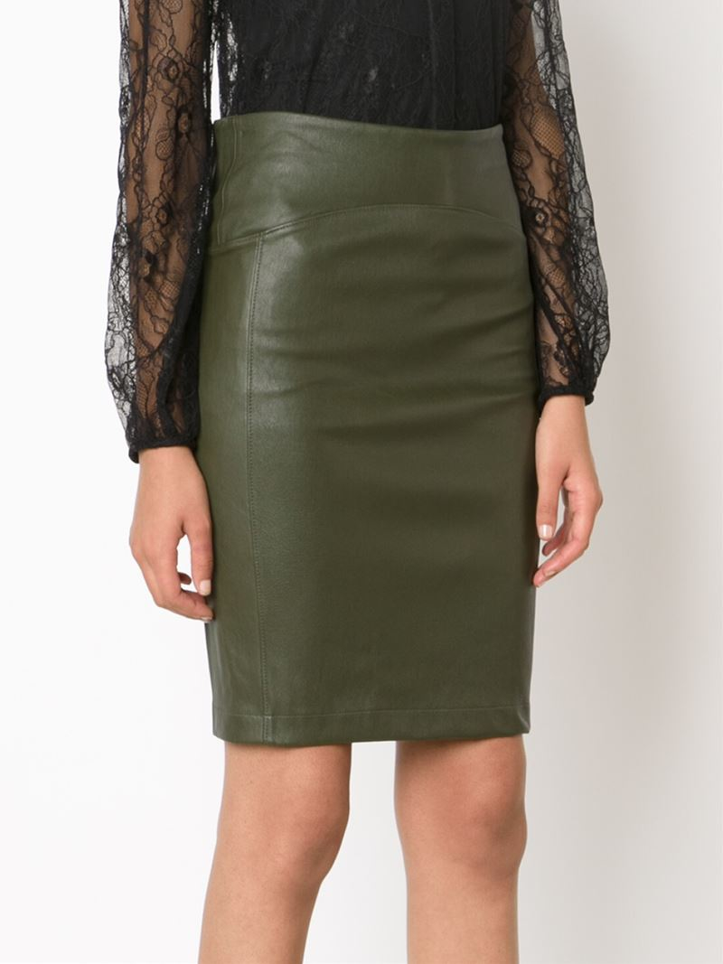 getting back to square one leather pencil skirt in green