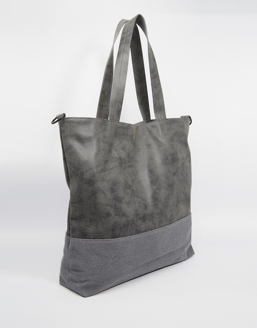 Lyst Asos Tote Bag With Faux Suede Trim In Gray For Men