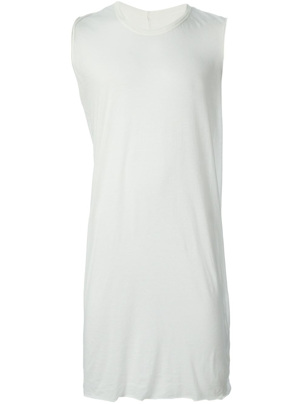 Rick owens Long Tank Top in White for Men | Lyst