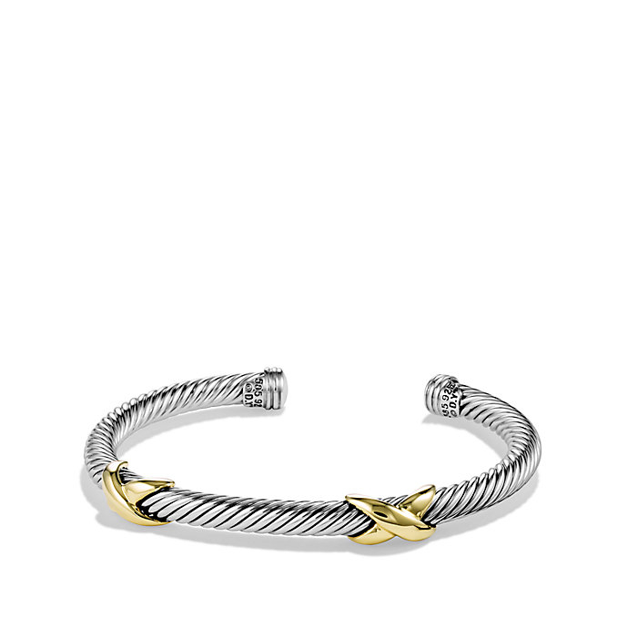David Yurman Double X Bracelet With Gold In Metallic Lyst