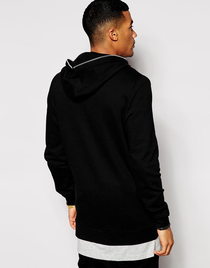 Lyst - ASOS Longline Zip Up Hoodie With Zip Hood in Black for Men b062873cce17