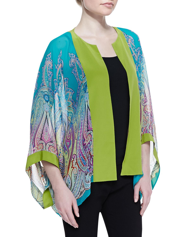etro paisley silk chiffon kimono jacket in multicolor. Black Bedroom Furniture Sets. Home Design Ideas