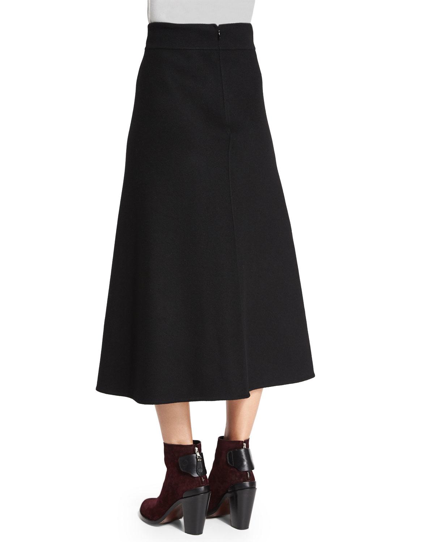 jil sander high waist a line midi skirt in black lyst