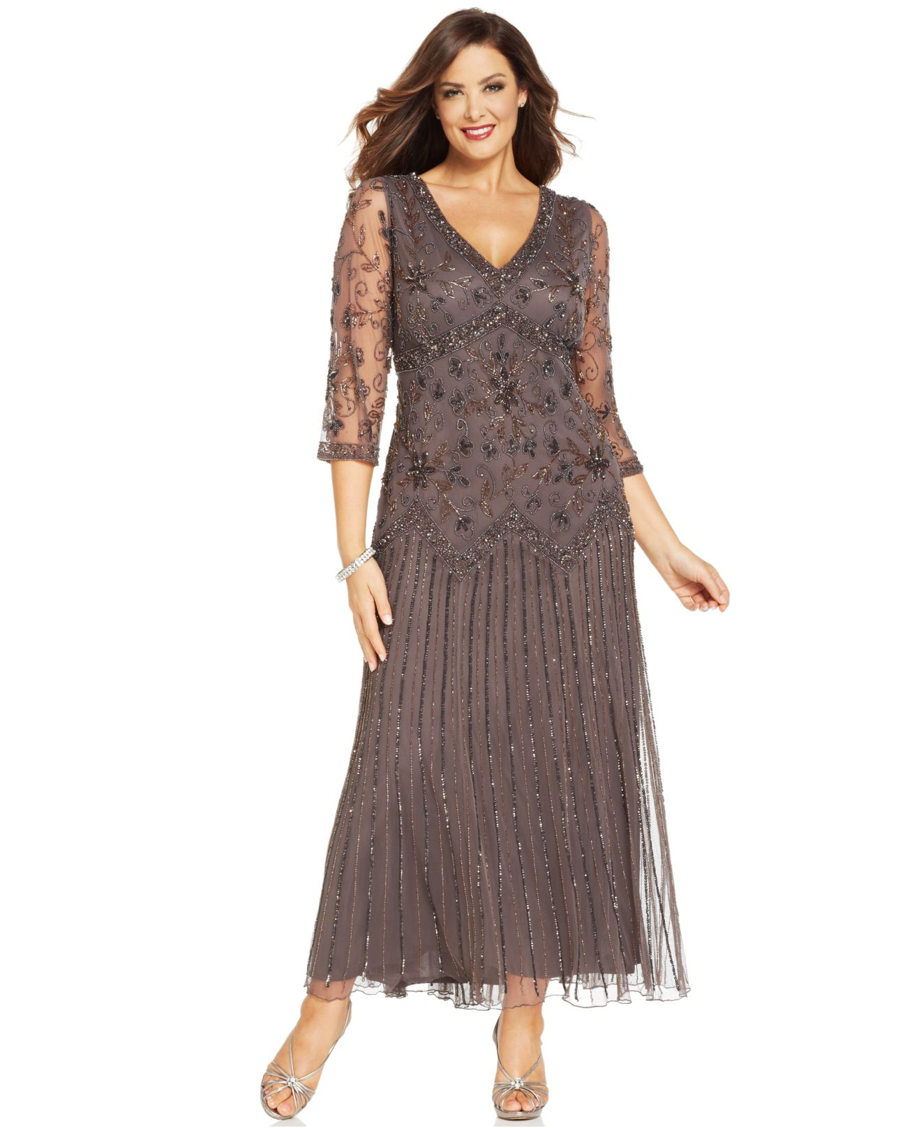 Lyst - Pisarro Nights Plus Size Three-Quarter-Sleeve Beaded Gown in Gray