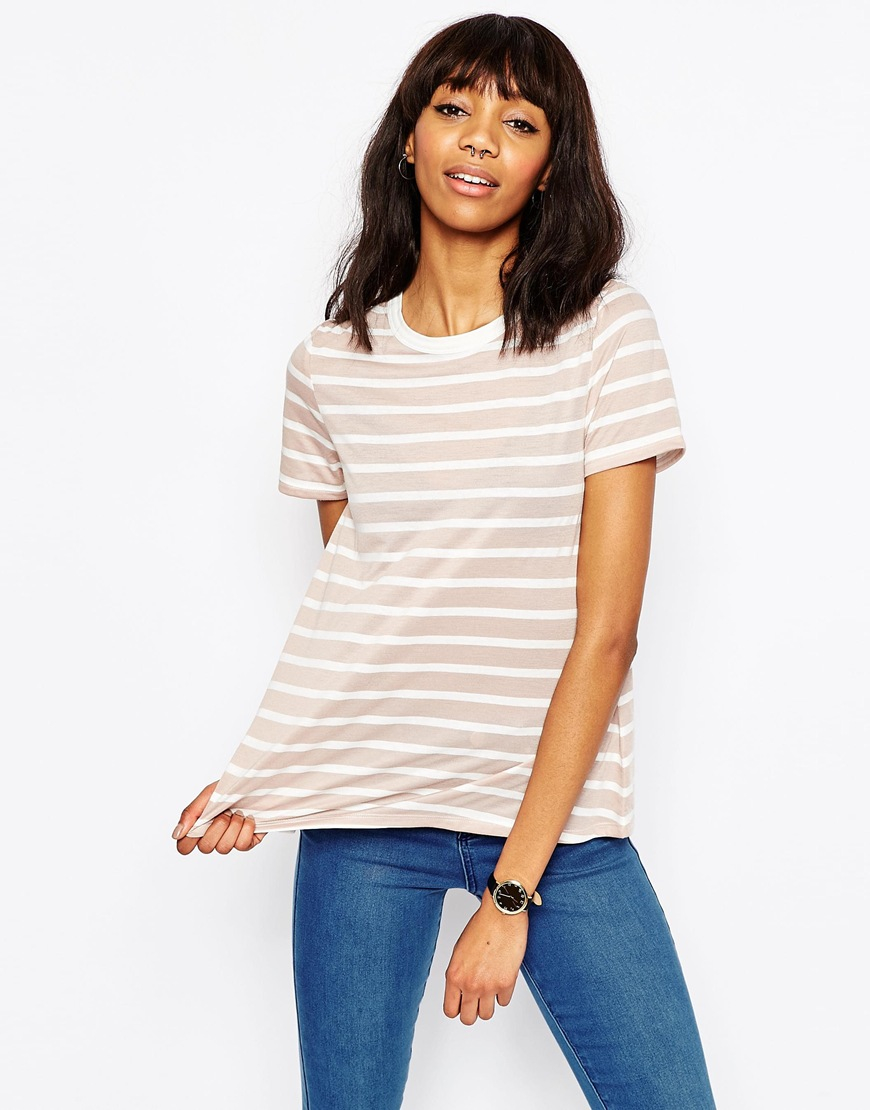 Asos Swing T Shirt In Stripe In Natural Lyst